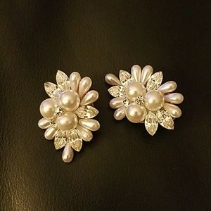 Jewelry - Seed Pearl and Crystal Clip Earrings